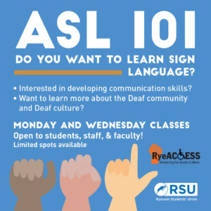 ASL Fall Courses @ Ryerson Student Centre